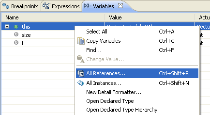 All References action in context menu