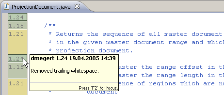 Screenshot of an annotated Java editor - the ruler shows revision numbers, while its background is colored by committer