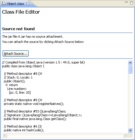 Screenshot showing the Class File Editor with disassembled code
