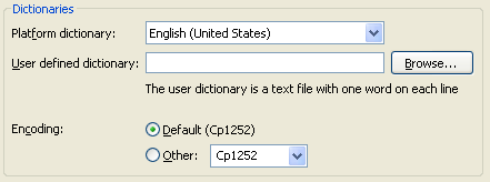 Picture showing the dictionary section from the Spelling preference page