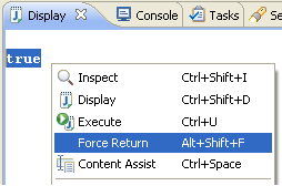 Select expression and Force Return from context menu