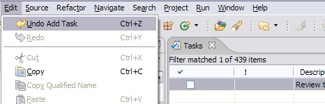 Screenshot showing the undo available after adding a task to the tasks view