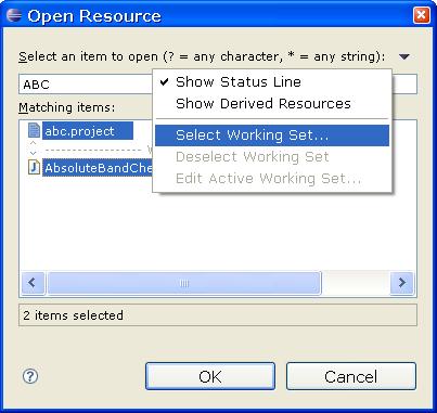Resource selection dialog
