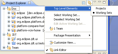 Working Sets top level groupings submenu in Project Explorer