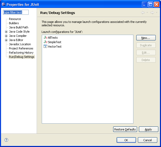 Run/Debug settings property page showing launch configurations associated with the selected resource