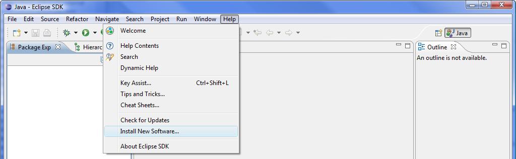 Install New Software Menu